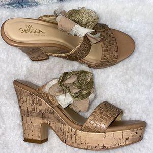 Sbicca cork wedge open toe sandals side flower 7